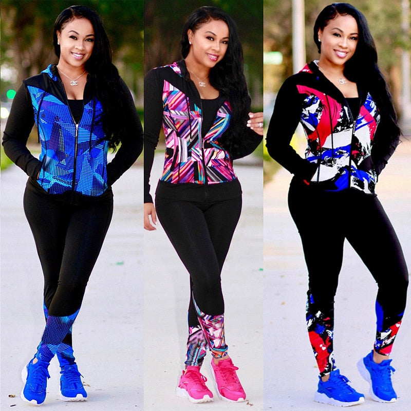 Women High Quality 2 Piece Print Hoodies Vogue Tracksuit Pants Tweed Jacket Long Sleeve