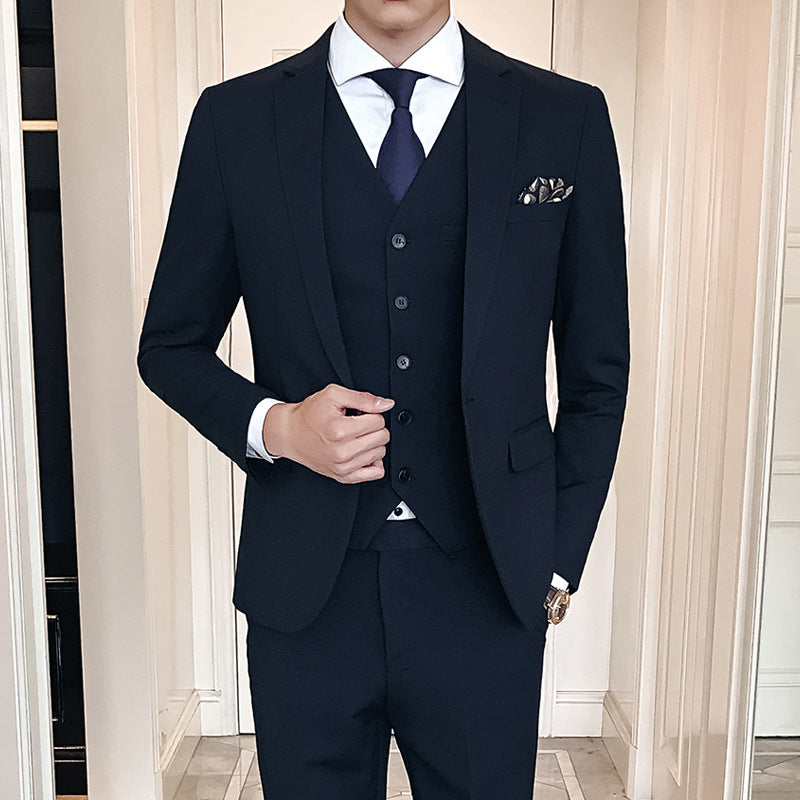 Men's new high quality suit three-piece solid color business, office suit