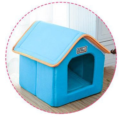 Small & Medium Dogs / Cat House Foldable Bed With Mat Soft Winter Leopard Puppy Sofa Cushion Kennel