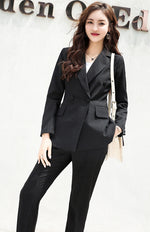 Women Double Breasted Classic White Pant & Notched Collar Blazer Jacket Sets