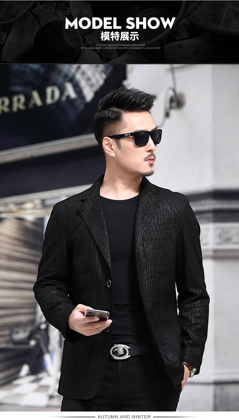 High-end  quality leisure/ business single suit sheep leather Korean stripe version.