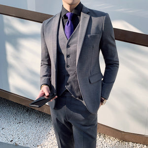 Men's new high quality suit three-piece solid color business