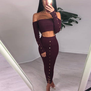 Women Two Piece Set Slash Neck Off Shoulder Crop Top and Button Front Long High Waist Skirts Sets