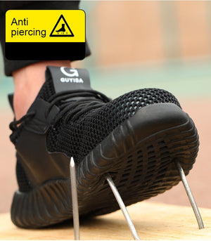 Men New Indestructible Safety Breathable Outdoor Steel Toe Work Safety Puncture Proof Shoes