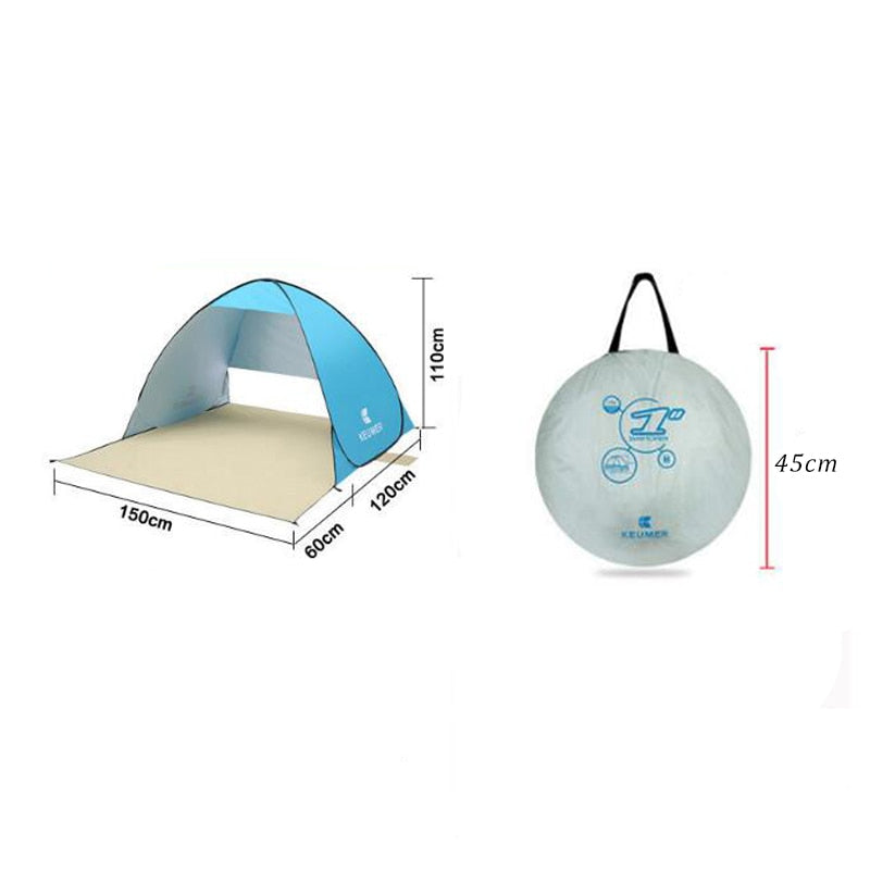 *Automatic 2 Persons  Instant Pop Up Open Anti UV Awning Camping Beach Tent