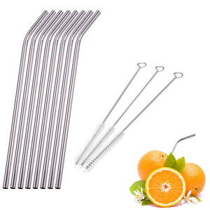 Reusable Stainless Steel Curve Drinking Straw With Cleaner Brush Kit Drinkware