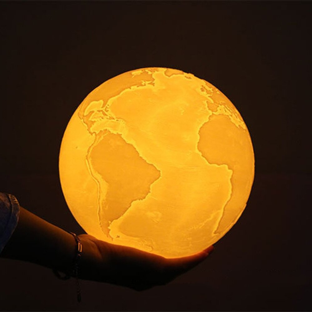 3D Print Earth Color Change Touch Moon Lamp With USB LED Night Light.
