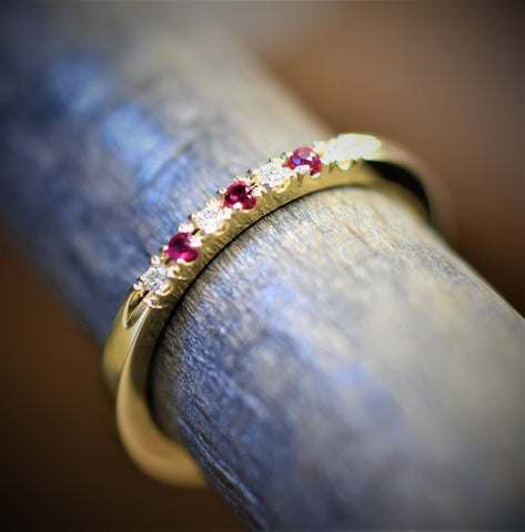 14k yellow gold Handmade Ruby and Diamond Band
