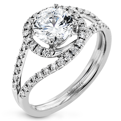 CR131-D ENGAGEMENT RING Platinum White Semi