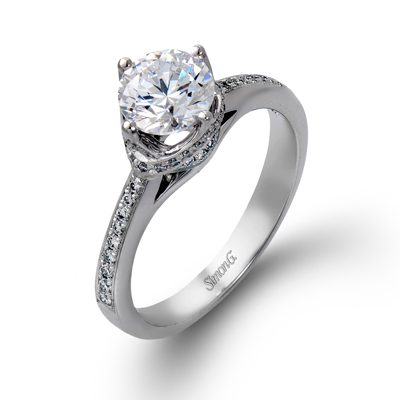 DR167 ENGAGEMENT RING Platinum White Semi
