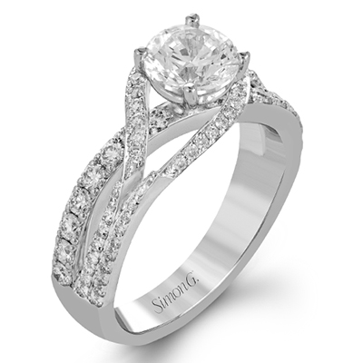 DR357 ENGAGEMENT RING Platinum White Semi