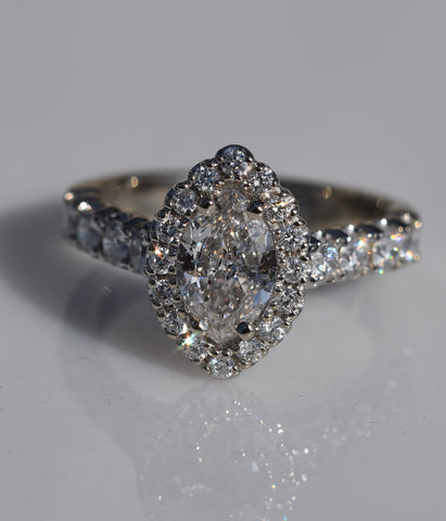 14k white gold Marquise diamond halo engagement ring (Consignment)