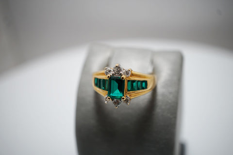 14ky Lab Created Emerald & Diamond Ring