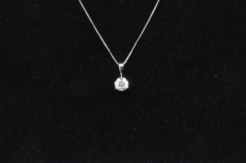 DIAMOND SOLITAIRE PENDANT .75 CTW 14KW CANDLE LIGHT