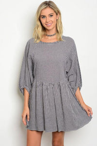 Women's Long Sleeve Navy and White Plaid Dress