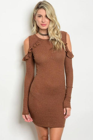 Women's Long Sleeve cold shoulder Dress with Ruffle
