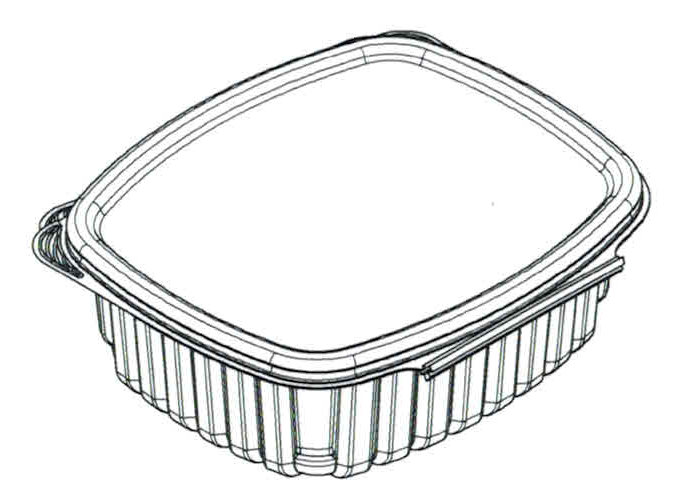 dimensions of plant based 32 oz multipurpose clamshell package for canadian bioplastic company