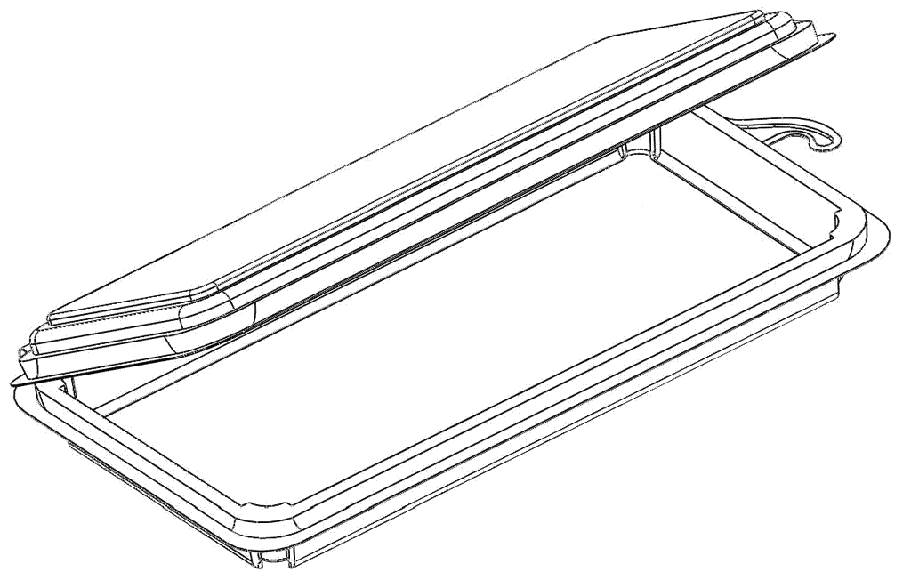 line drawing showing dimensions of plant based food packaging for canadian bioplastic company