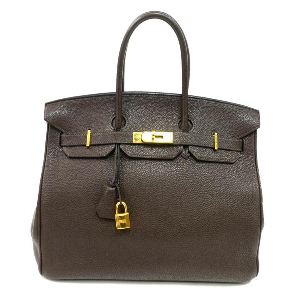 Authentic Vintage Hermes 35cm Birkin Bag in Chocolate Clemence Leather with  Gold Hardware 35b9614fb7bc7