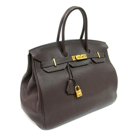 Authentic Vintage Hermes 35cm Birkin Bag in Chocolate Clemence Leather with Gold Hardware