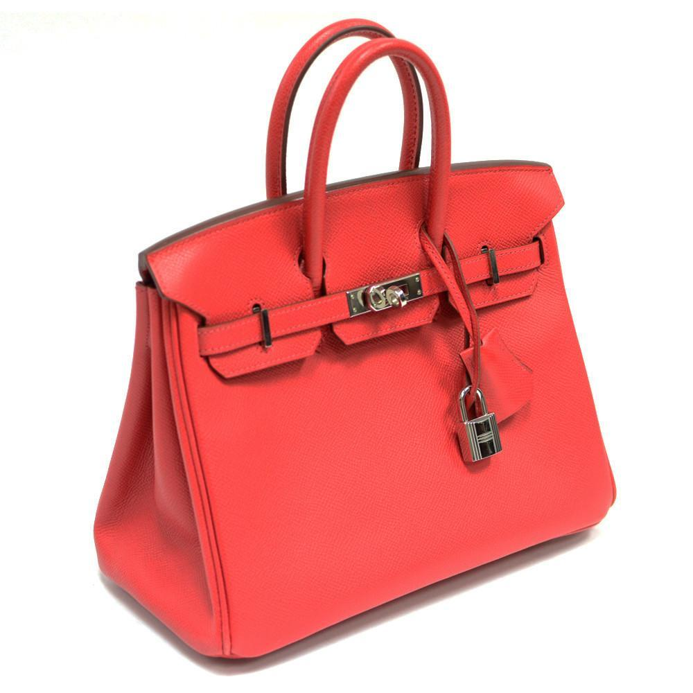 Authentic Vintage Hermes 25cm Birkin Bag in Red Epsom Leather from the Candy Collection with Palladium Hardware