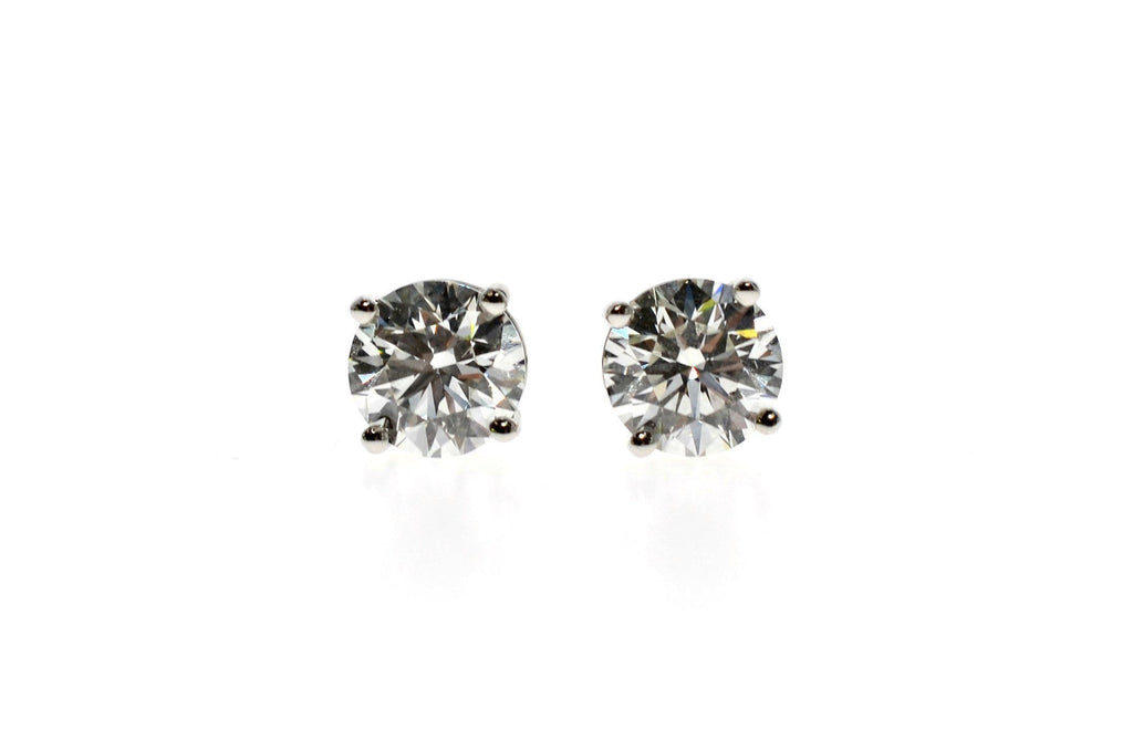 Tiffany & Co Diamond Platinum Stud Earrings GIA Certified 3.03ct Total Weight.