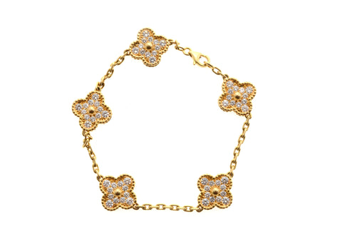 Van Cleef & Arpels 18k Yellow Diamond 5 Motif Alhambra.