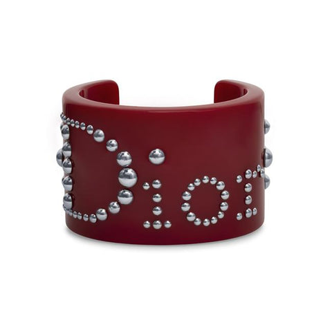 Dior Red Resin Silver-tone Studded Logo Cuff Bracelet.