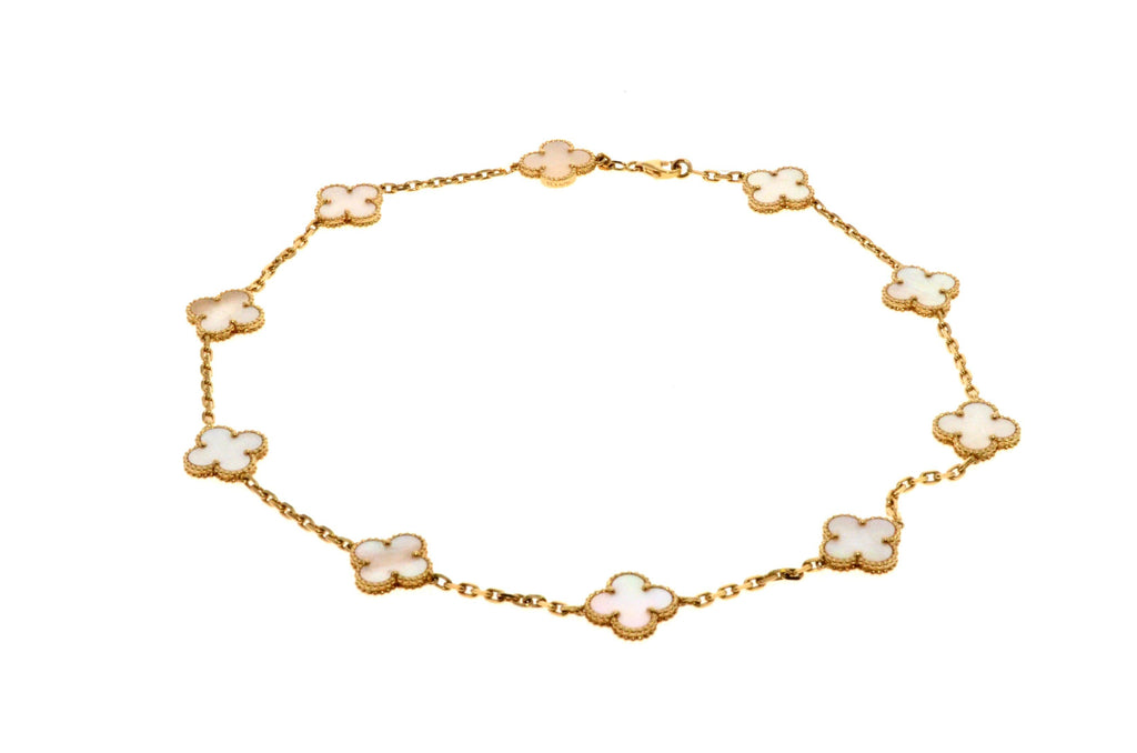 Van Cleef & Arpels 18k Yellow Gold Mother of Pearl 10 Motif Alhambra Necklace.