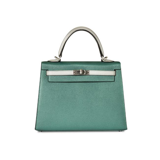 Hermes 25cm Kelly Malachite & Gris Mouette Epson Leather with Brushed Hardware.