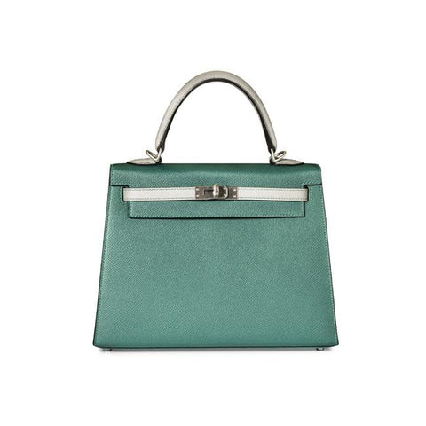 75a47444fb1b4 Hermes 25cm Kelly Malachite & Gris Mouette Epson Leather with Brushed  Hardware.