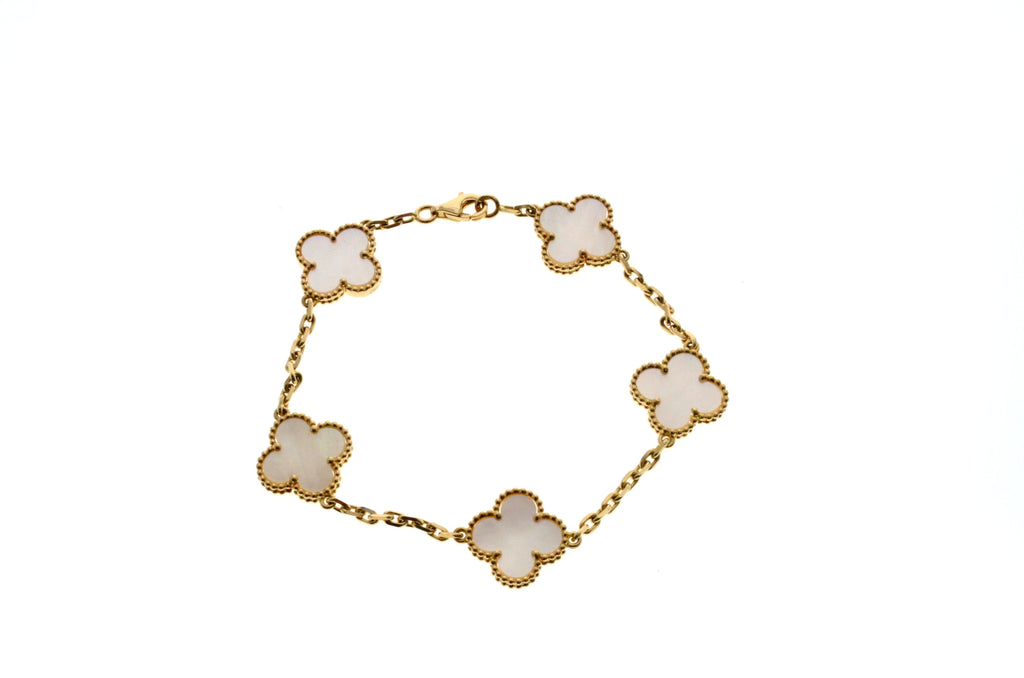 Van Cleef & Arpels Alhambra Mother of Pearl bracelet 5 motifs 18k Yellow Gold.