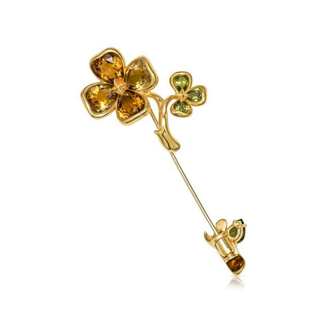 Chanel Women's Yellow Gold Floral Gemstone Pin.