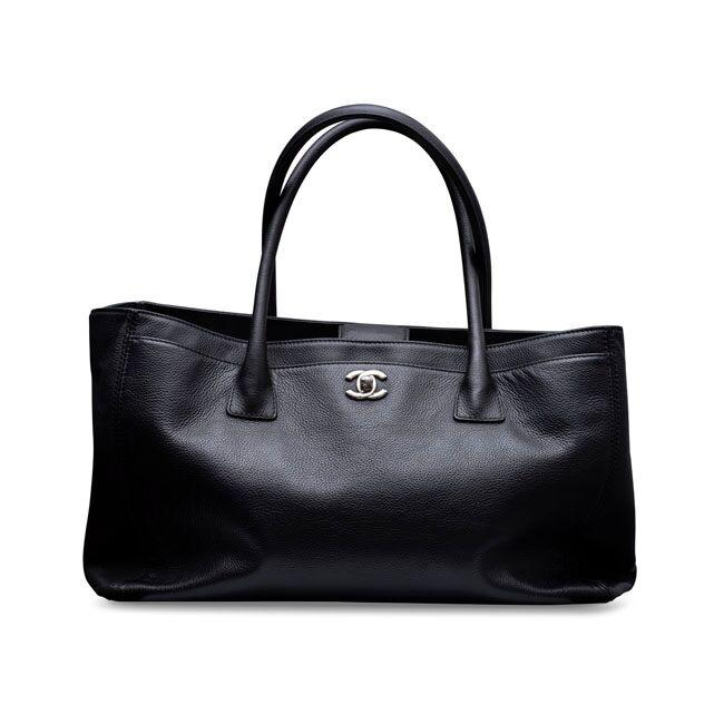 Chanel Calfskin Cerf Executive Shopper Tote Black Silver Hardware