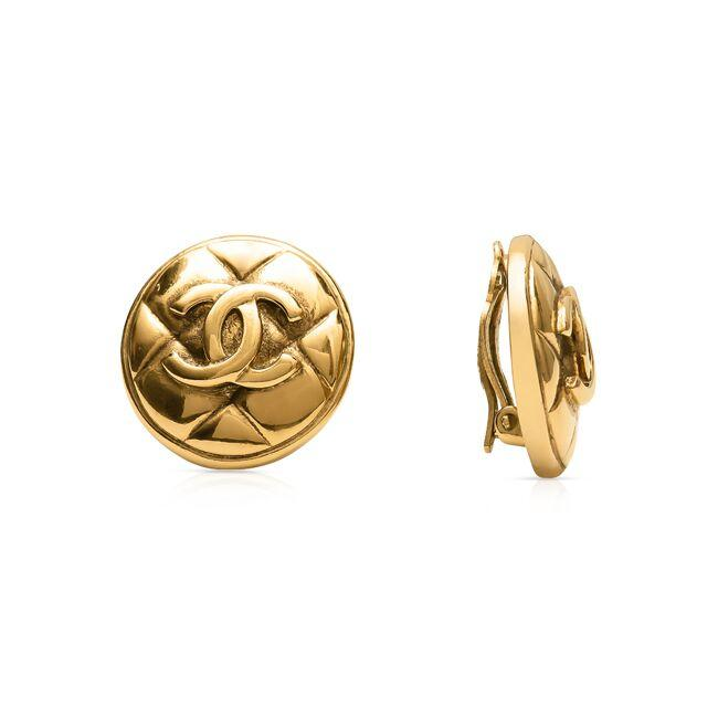 Chanel Vintage Quilted Double C Clip on Earrings