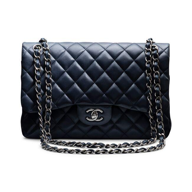Chanel Black Metallic Lambskin Quilted Jumbo Double Flap Navy