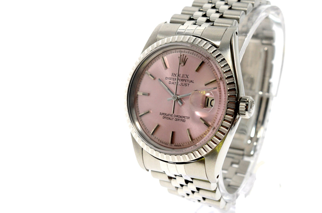 Rolex Stainless Steel Datejust 36mm 1603 with Custom Pink Dial.