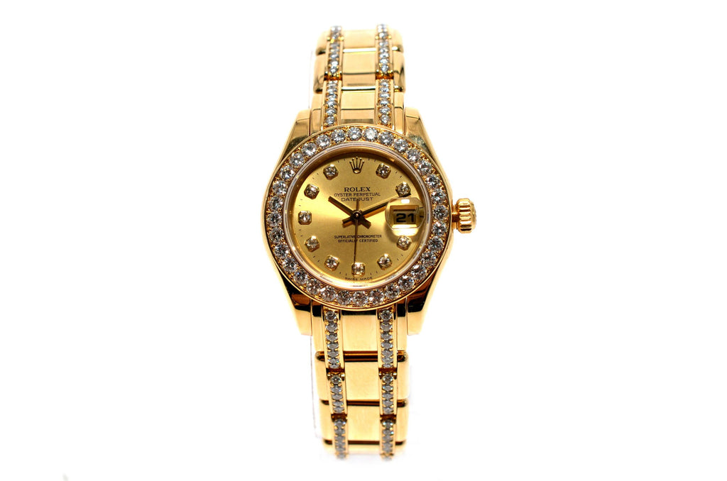 Rolex Datejust Ladies Pearlmaster 18K Gold Masterpiece Diamonds 80298.