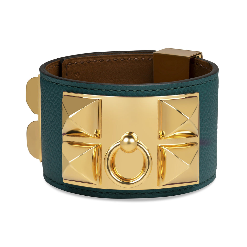 Hermes Collier De Chien Bracelet Epson Leather Malachite Gold Hardware.