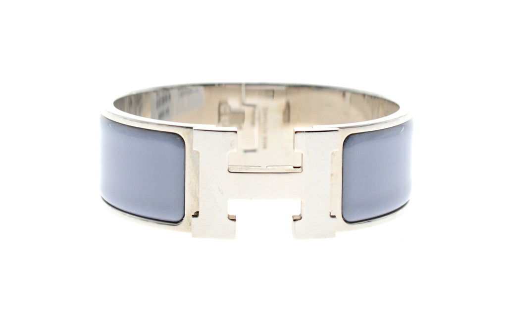 Hermes Clic Clac H Bracelet Palladium Hardware with Light Blue Enamel.