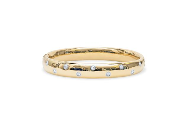 Tiffany & Co. Diamond Gold Platinum Etoile Bangle Bracelet