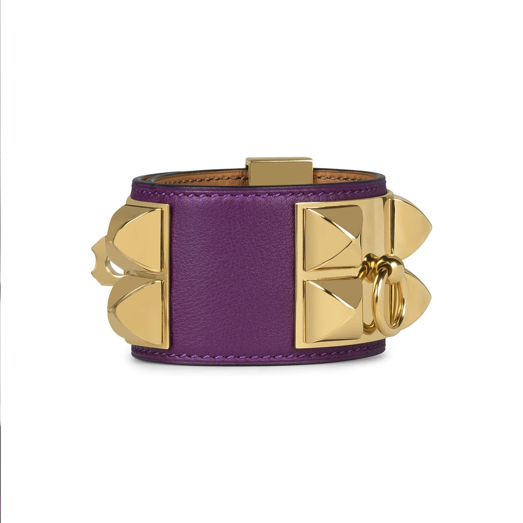 HERMES COLLIER DE CHIEN BRACELET BOX CALFSKIN ANEMONE WITH GOLD HARDWARE