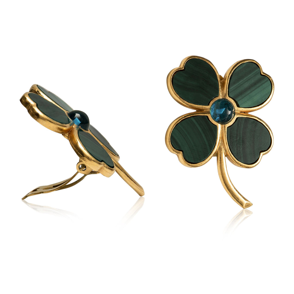 VINTAGE CHANEL MALACHITE 4 LEAF CLOVER CLIP EARRINGS.