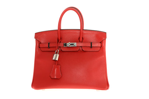 3096cc0e078 Vintage Hermes 25cm Birkin Bag in Candy Red Epsom Leather with Palladium  Hardware