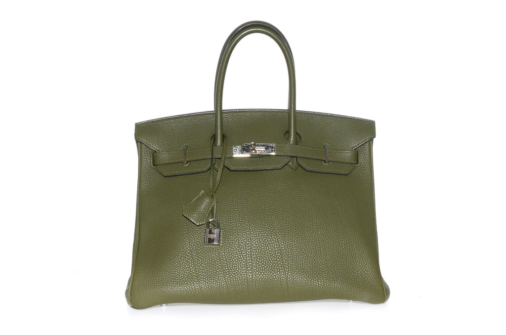 HERMES BIRKIN 35CM OLIVE GREEN TOGO LEATHER WITH RUTHENIUM HARDWARE.