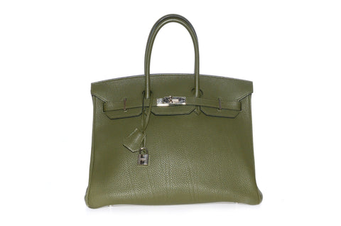 0d4d11bf69a HERMES BIRKIN 35CM OLIVE GREEN TOGO LEATHER WITH RUTHENIUM HARDWARE.
