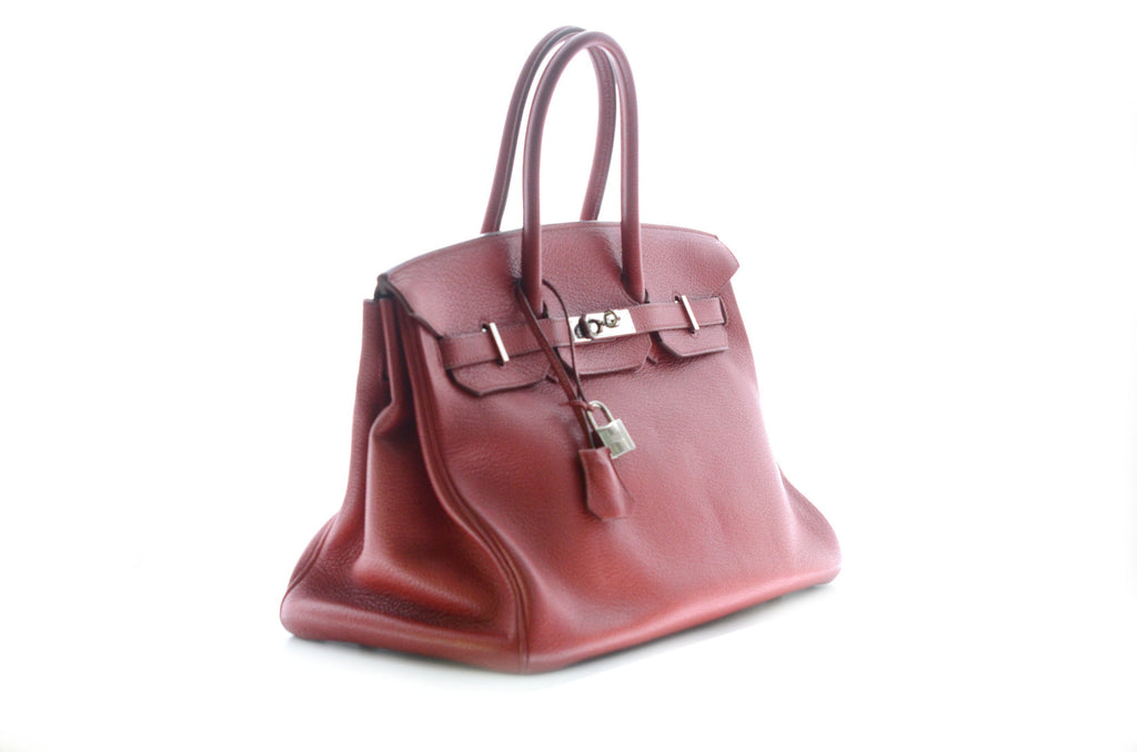 Hermes Birkin 35cm Red Clemence with Palladium Hardware.