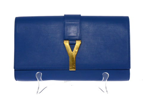 Yves Saint Laurent Blue Chyc Clutch Gold Hardware.