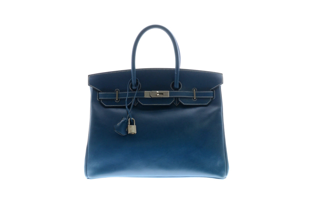 Hermes Birkin 35cm Thalassa Box Calf with Palladium Hardware.