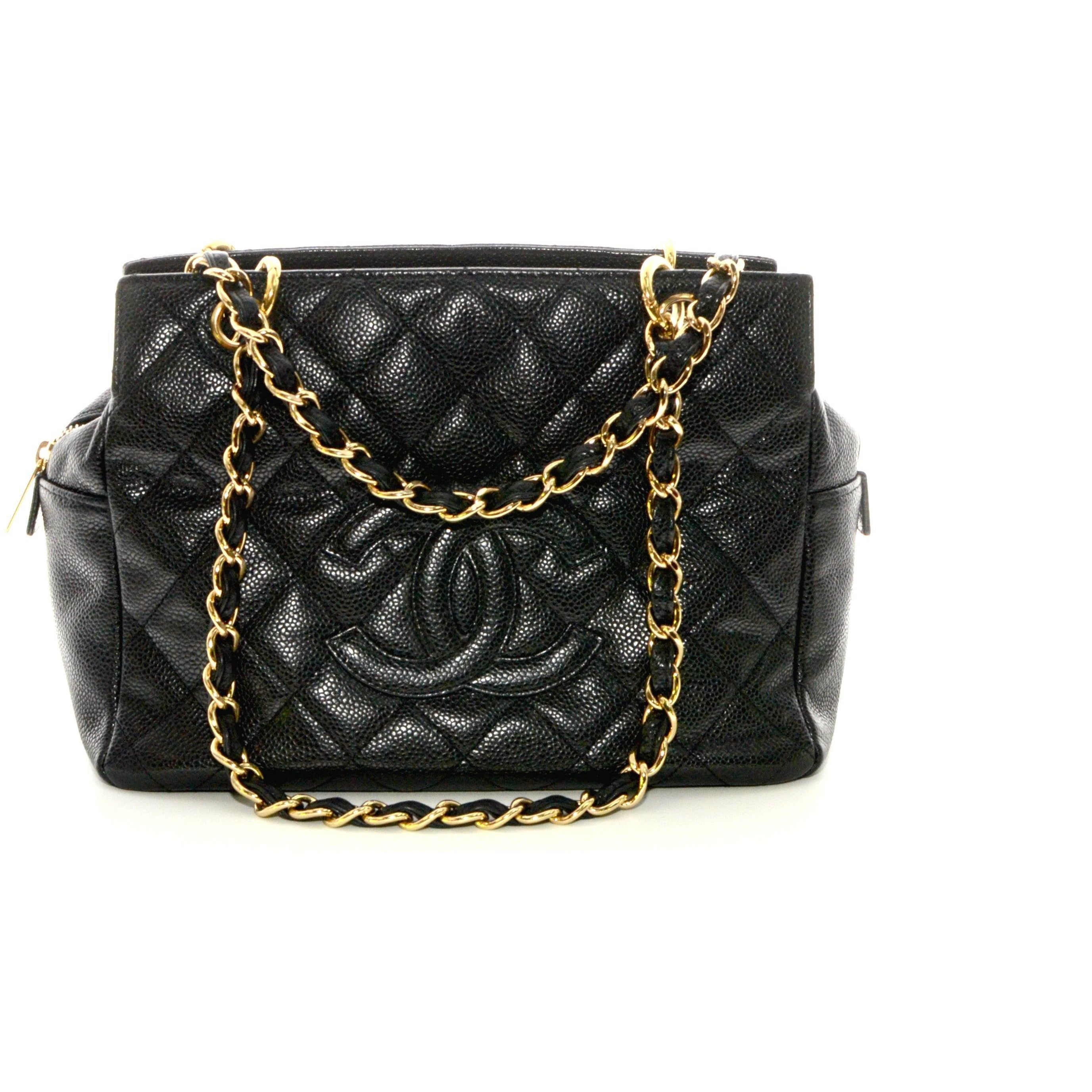 4240e50138628d Chanel Caviar Small Shopping Tote Bag Chain Shoulder Black Quilted. – The Vintage  Contessa & Times Past
